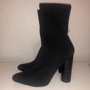 Black Sock Heeled Booties